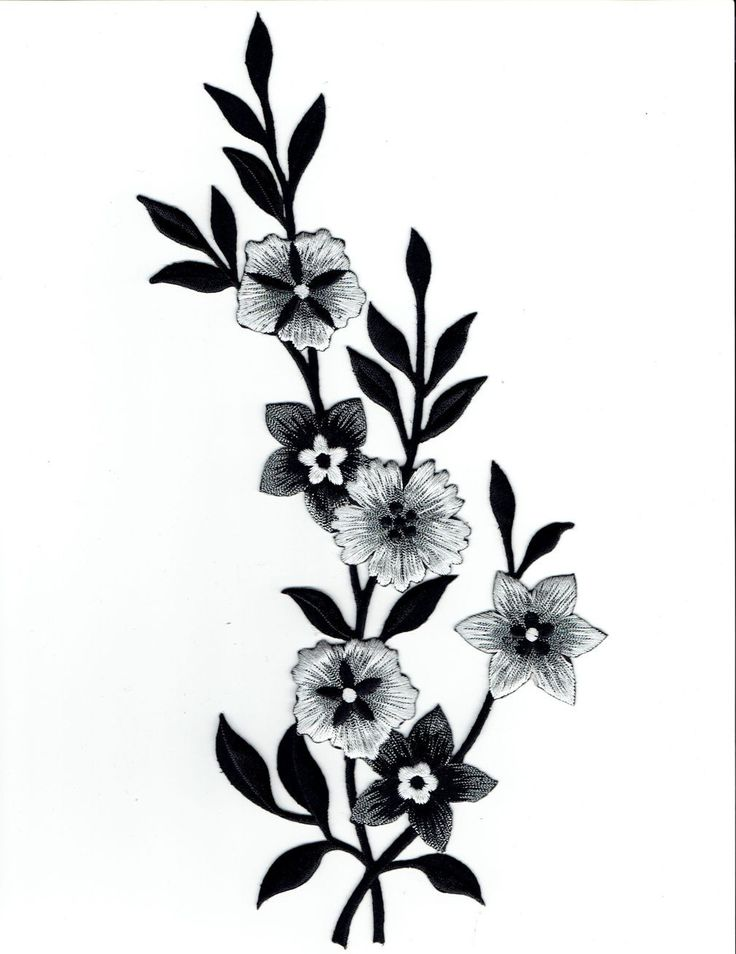 Large - Flowers - Black/White/Silver - Facing Right - Iron on Applique - Embroidered Patch - 692258AR