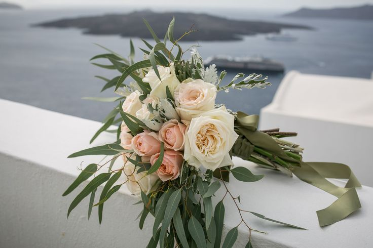Romantic Bouquet with a View!!!!!!!!  Garden roses and eucalyptus!!!!!