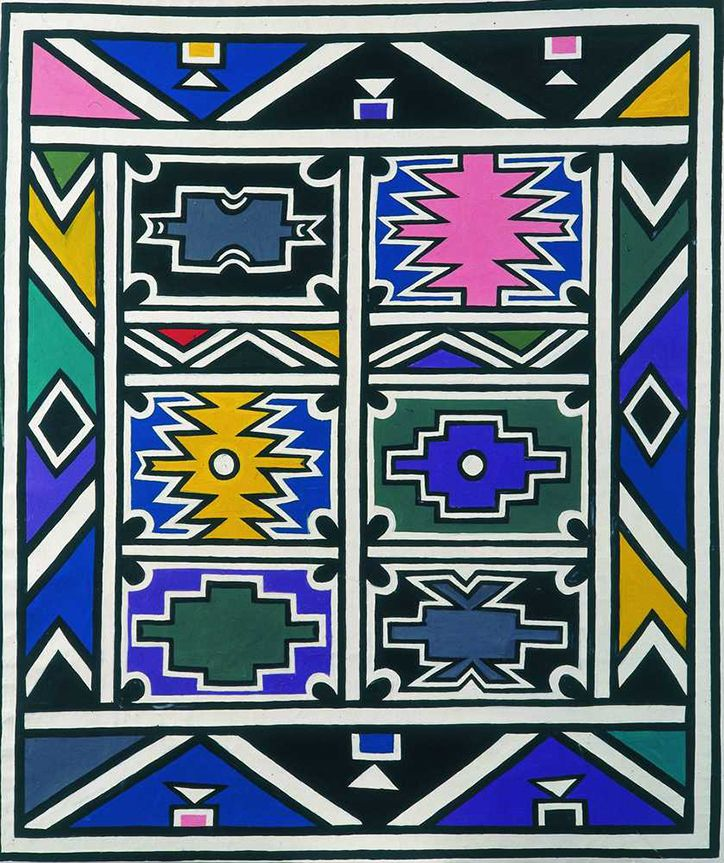 """Since the first BMW car was used as an unlikely canvas in 1975, a roster of art world heavyweights from David Hockney to Andy Warhol, Jenny Holzer to Roy Lichtenstein have transformed 17 cars into 3D artworks. In 1991, South African Ndebele artist Esther Mahlangu was commissioned to paint the 12th car. The white BMW 525i was coated — hub caps and all — in a mural of geometric pastel-coloured shapes creating an artwork which is at once radical and """"traditional""""."""
