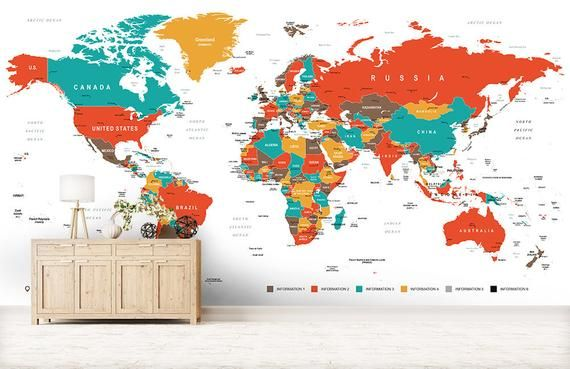 World Map Wall Mural - Non Woven Wallpaper for Kids - Self Adhesive ...