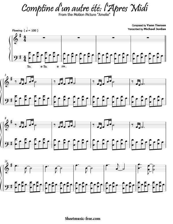 Comptine D Un Autre Ete L Apres Midi Sheet Music Yann Tiersen
