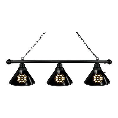 Holland Bar Stool NHL 3 Light Pool Table Light Finish: Black, NHL Team: Boston Bruins