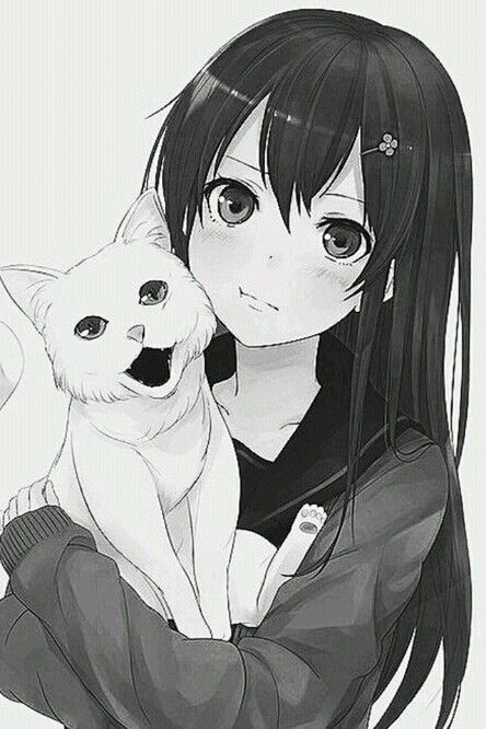 Anime cat girl with black hair
