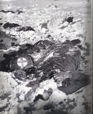 The remains of an American medic executed at the Malmedy Massacre where 81 American POWs were executed in cold blood by troops of the 1st SS Panzer Division.