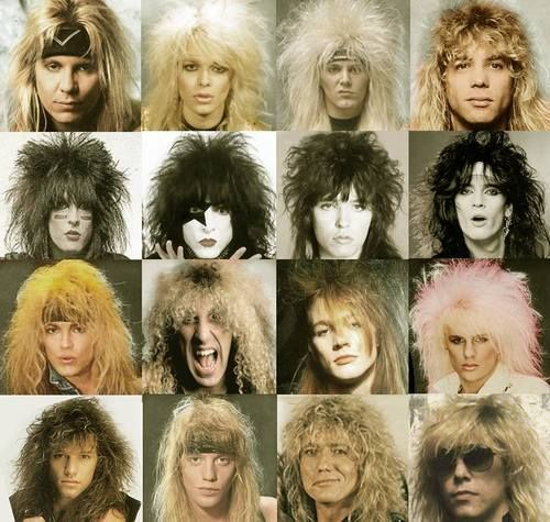 Singers of the 80's hair metal bands. I still love Bon Jovi now!!! Look at that epic hair!!!!!
