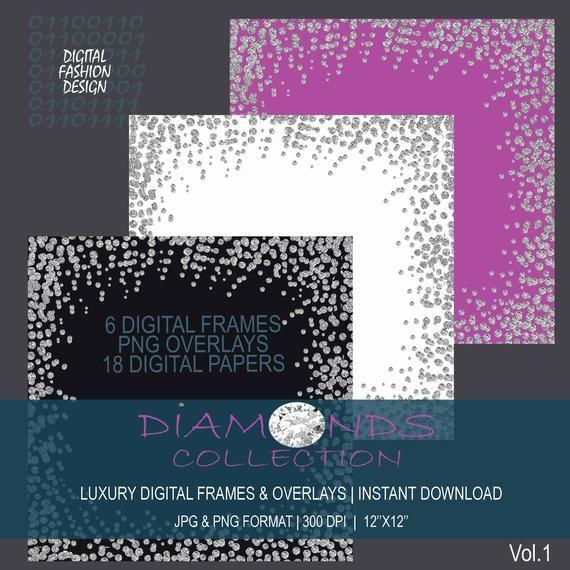 Diamond Silver Confetti Borders Glitter Confetti Clipart Etsy Clip Art Glitter Confetti Clip Art Borders