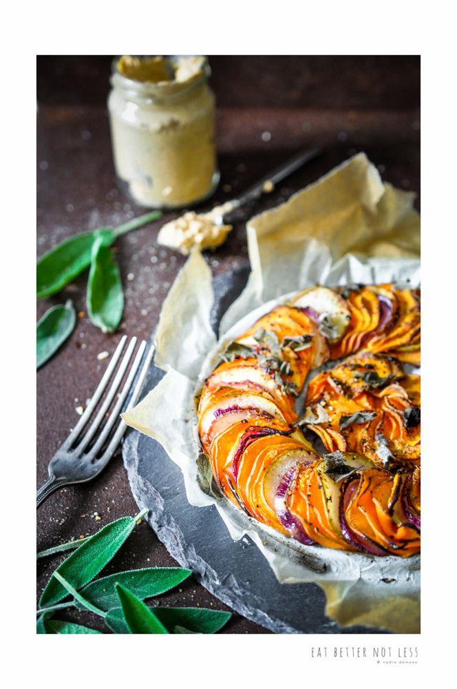 a sweet & savory tartelette Sweet Potato, Apple & Red Onion Tartelette – EAT BETTER NOT LESS- Nadia Damaso