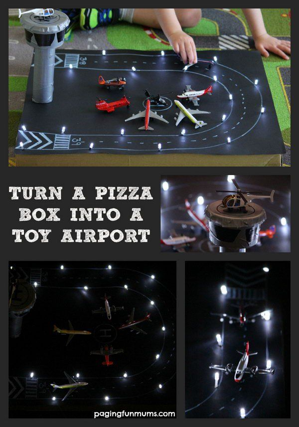 Pizza Box Airport With Working Landing Lights. Kids got so much joy from making and playing this pretend play toy.