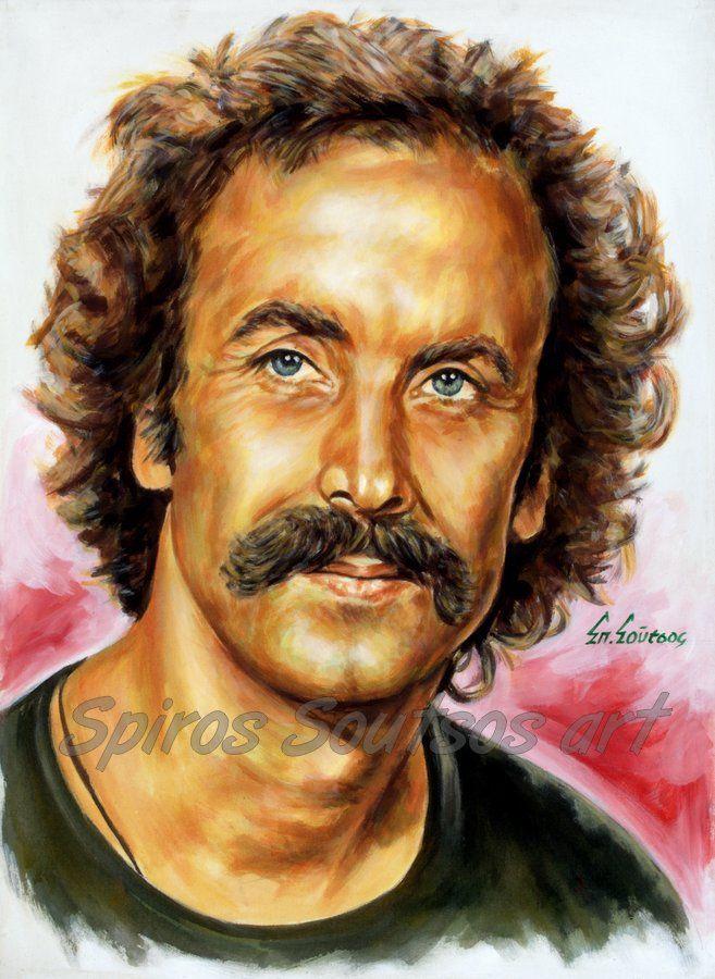 Νίκος Ξυλούρης πορτραίτο αφίσα, αυθεντικός πίνακας ζωγραφικής, πόστερ