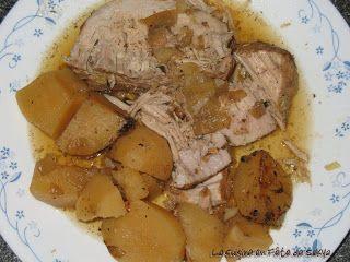 La cuisine en fête de Sakya: Rôti de porc avec patate jaune ( pomme de terre ) à la mijoteuse