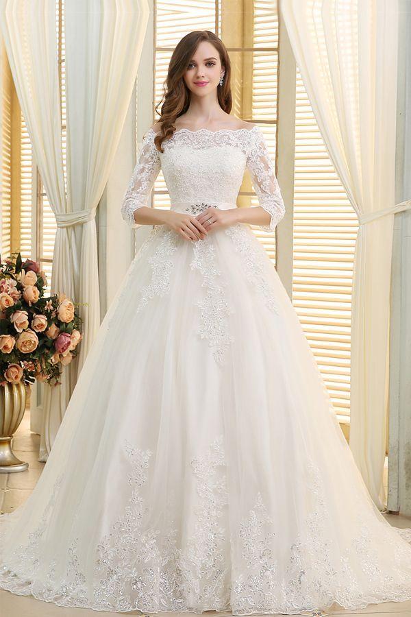 [236.50] Romantische Tüll Off-the-Shoulder-Ausschnitt Ballkleid Brautkleider mit Perlen Pailletten Spitze Appliques