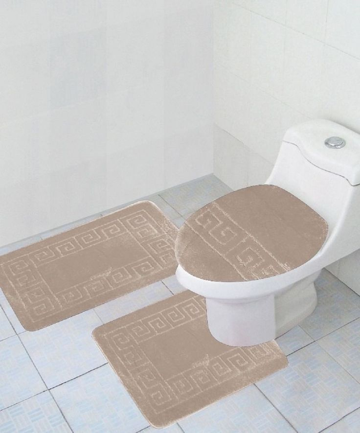 3 Piece Bathroom Set BEIGE  Rug Contour Mat Lid Cover Free Shipping New #WPM