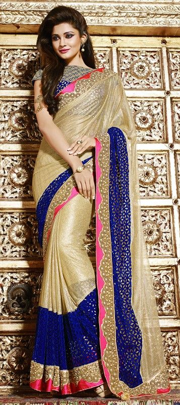 #Golden #Designer #Saree in Net with #CutWork & Contrast #borders is the New trend setter!  187914 Beige and Brown, Blue  color family Bridal Wedding Sarees in Art Silk, Net, Velvet fabric with Border, Machine Embroidery, Resham, Stone, Zari work   with matching unstitched blouse.