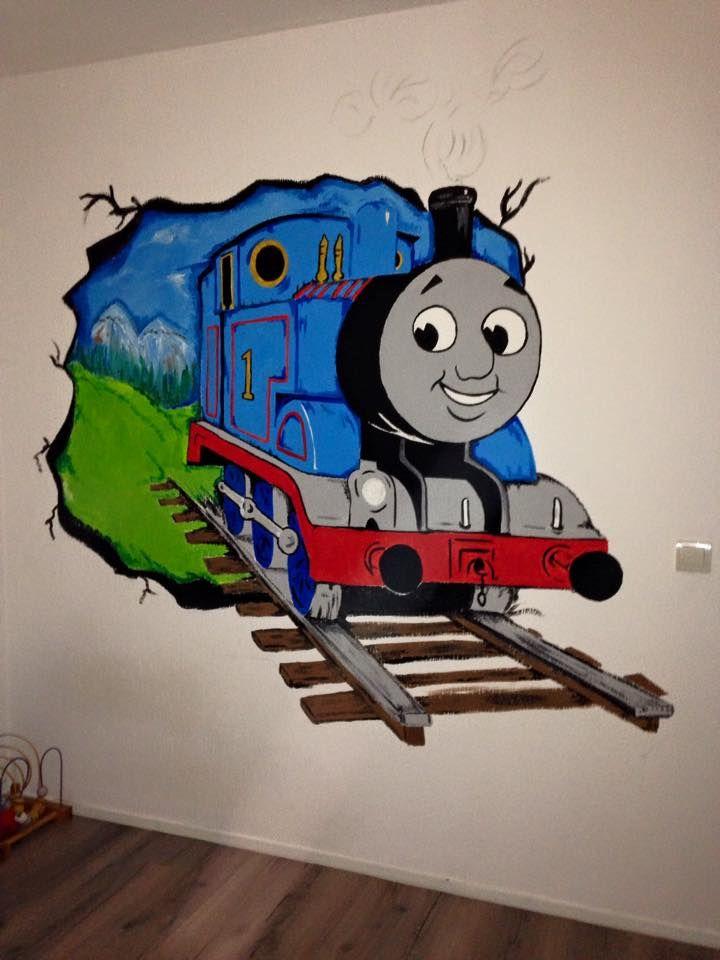 thomas de trein muurschildering voor kinderkamer