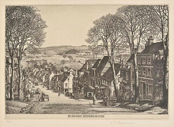 AR Badmin (Stanley Roy, 1906-1989). Burford, Oxfordshire, 1931,  etching on Basingwerk Parchment wove paper (watermarked), from the edition of 45, published by the XXI Gallery, signed and numbered 26/45 in pencil, light mount stain, plate size 137 x 194mm (5.4 x 7.7ins), sheet size 184 x 259mm (7.25 x 10.2ins) Beetles 25. (1)