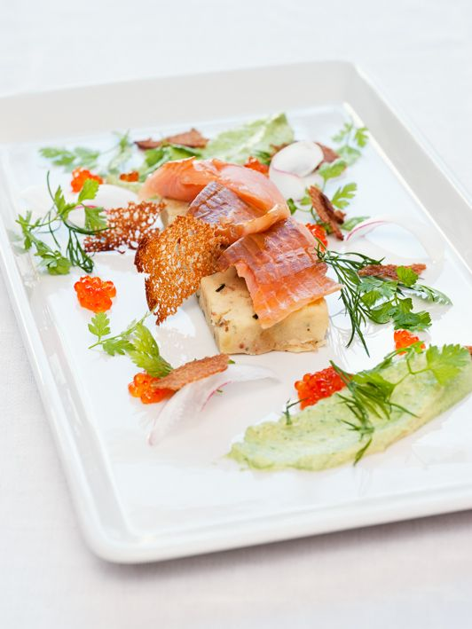 Smoked arctic char with honey and mustard terrine and dill cream