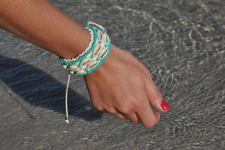 Sea shells crochet cuff bracelet with turquoise color  beads boho free spirit girl festival bracelet by beuniqueibiza on Etsy