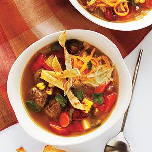 Tortilla Meatball Soup   Try a new take on tortilla soup by adding chipotle-spiked meatballs to the mix. If you can't find fresh corn on the cob, substitute 2 cups frozen corn kernels, and broil them with peppers. Use a few extra chipotle chiles to spice up a pot of beans, rice, stews, or canola mayonnaise.Cooking Lights Recipe, Ground Beef, Beef Recipe, Food, Meatballs Recipe, Meatballs Soup, Mexicans Recipe, Soup Recipe, Tortillas Meatballs