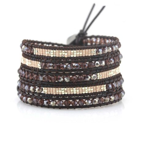 """In-Stock and Ships in 24-hours. Victoria Emerson Wrap bracelet with Shell, Miyuki Seed and 3mm Copper Beads on Natural Leather. MIYUKI glass beads are considered a """"world standard"""" for their high qual"""