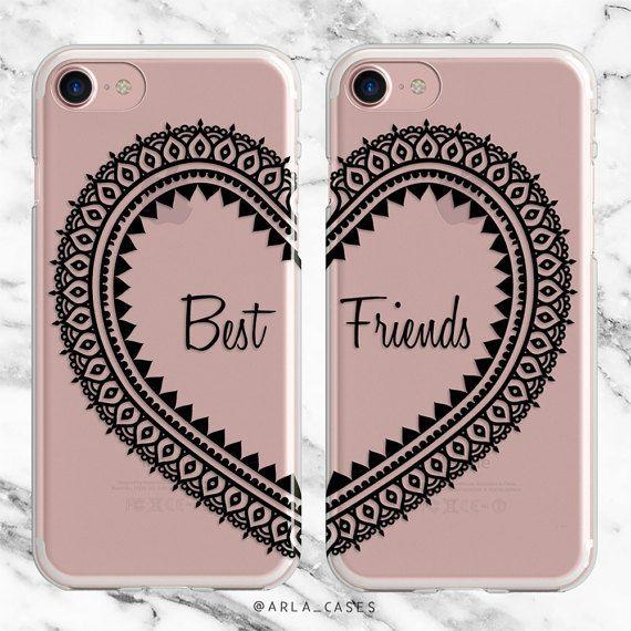 Best Friend Phone Case Set, Besties Gift, iPhone 7 Case, iPhone 6s Plus Case, Samsung Galaxy Best Friends Cases, S7, S6 Edge, iPhone SE, 5C by ArlaLaserWorks #iphonese,
