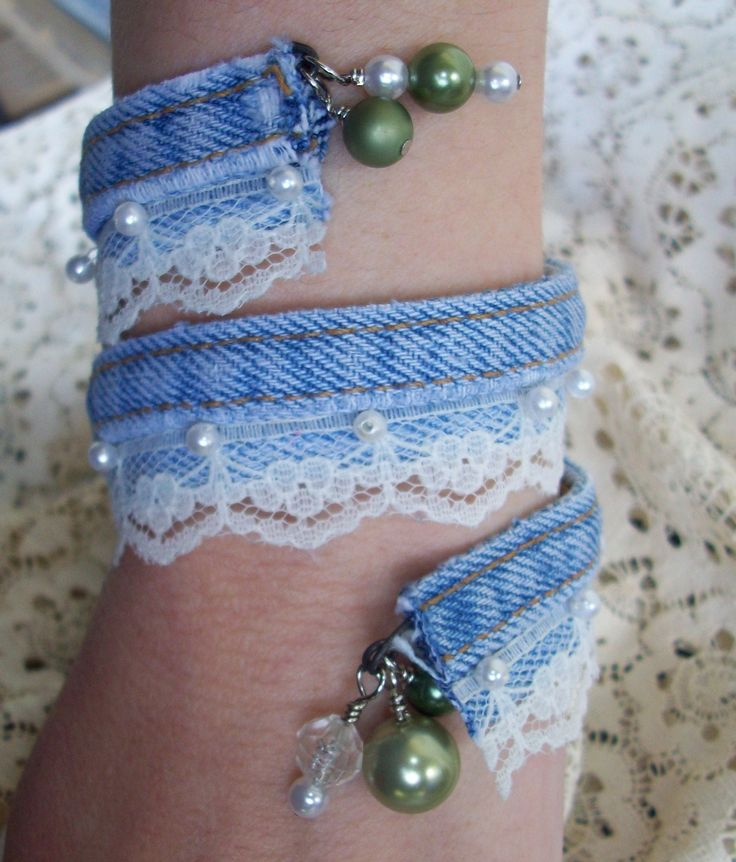 Denim Bangle with lace
