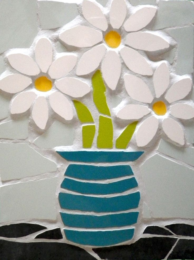 A blue vase of daises £34 Available to order at www.justmosaics.co.uk
