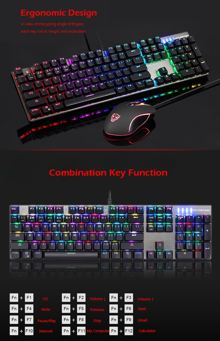 Original Motospeed CK888 NKRO Blue Switch 104Key Mechanical Gaming Keyboard and Mouse Combo