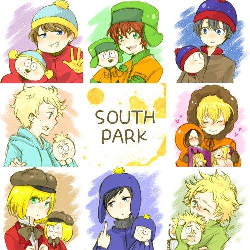 Cartman, Kyle, Stan, Butters, Kenny, Pip, Craig, and Tweek all in anime version with their cute South Park selves.