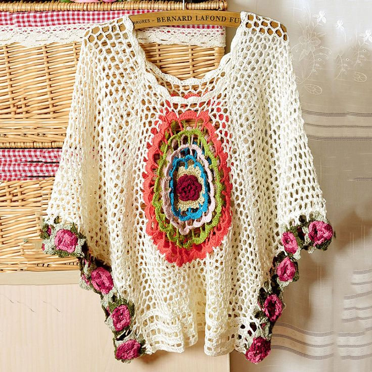 Stereo Rose Round Lace Crochet Batwing Tops - Women's Clothing