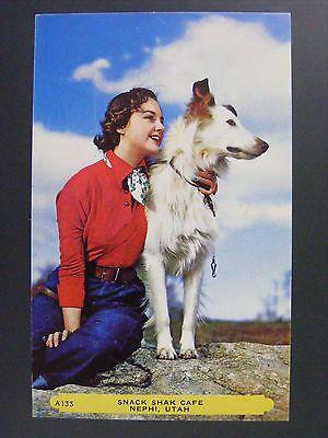 Nephi Utah UT Snack Shak Cafe Advertising Woman & white Collie Dog Postcard 1950s