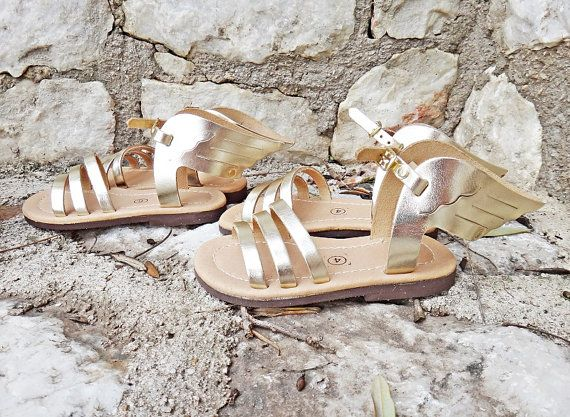 Hermes Gold Winged Sandals for Kids/Babies  Genuine High Quality Artisan Greek Leather in gold color. Handmade strappy sandals inspired by Hermes the