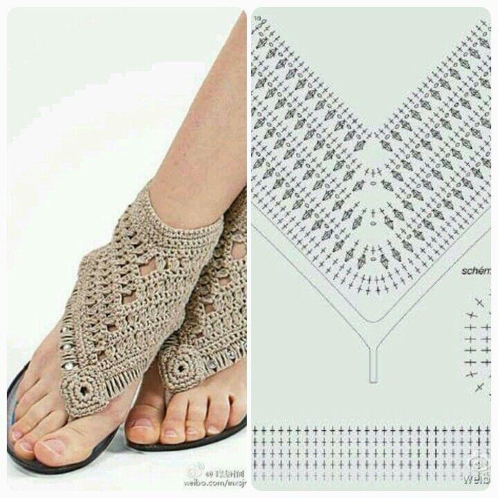 473 best Crochet Flip Flops & Shoes images on Pinterest | Slippers ...
