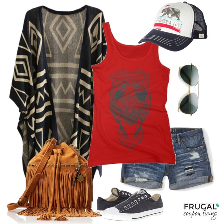 Frugal Fashion Friday Relaxed Boho Outfit on Frugal Coupon Living. Polyvore Layout featuring jean shorts, converse, owl tanktop, aztec sweater, california trucker hat and aviators. Outfit of the day. #ootd