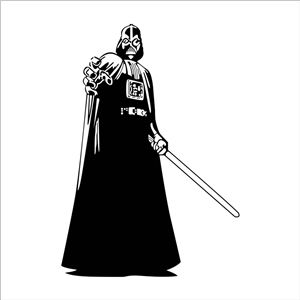 Epic STAR WARS CHARACTER Black PVC Plane Wall Stickers