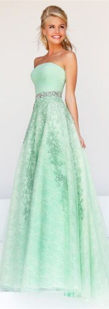 Cute A Line Strapless Long Mint Green Tulle Lace Beaded Prom Dress