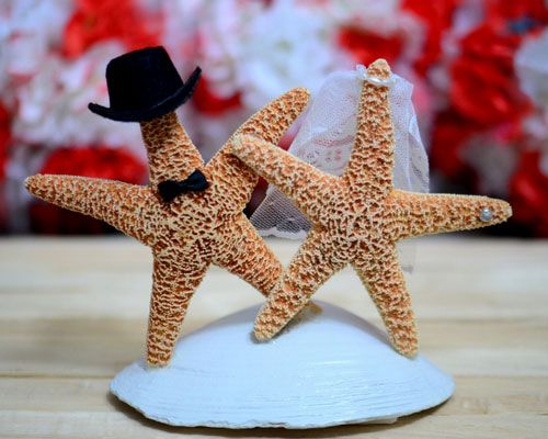 Click Pic for 26 DIY Beach Wedding Ideas | Starfish Cake Topper | Beach Theme Wedding Decorations