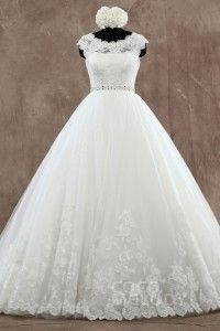 [ USD$ 379 ] Perfect Natural Train Tulle Ivory Cap Sleeve Wedding Dress with Appliques LWXT15077