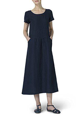9eac88f4479 Vivid Linen Short Sleeve Dress-L-Black at Amazon Women s Clothing store