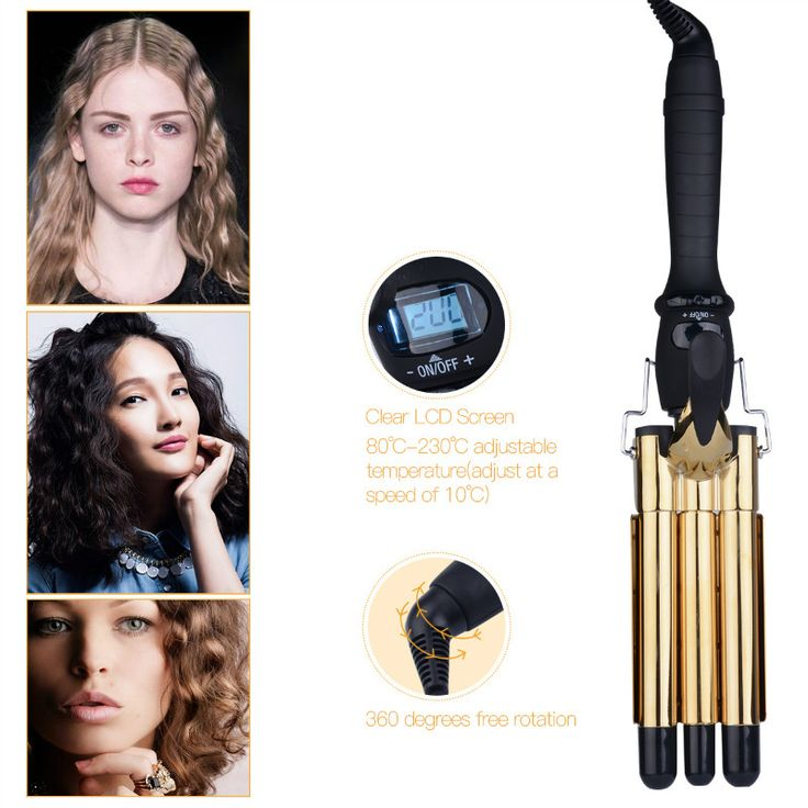 Professional LCD Digital Ceramic Electric Golden Hair Curler Triple Barrel Waver Curling Irons Hairdressing Tool Curly Wand  #Affiliate
