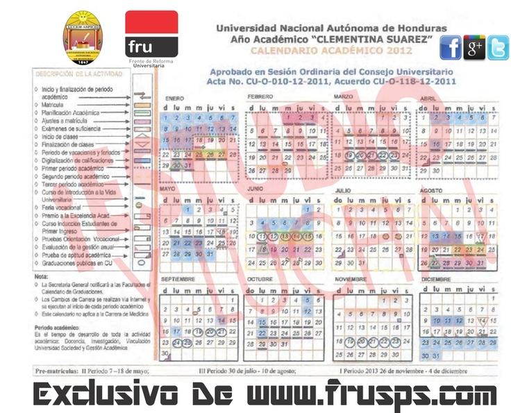 Calendario Académico UNAH 2012