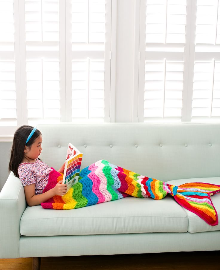 Rainbow Crochet Mermaid Tail Blanket for Kids.