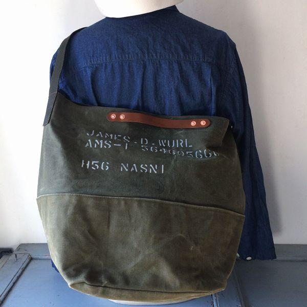 """60's US Army vintage canvas remake shoulder bag. I have stenciled """"JAMES.D.WURL AMS-1 564605660 H56 NASN1″. Use US ARMY surplus lashing belt for shoulder strap. Use metal buckle as same as messenger bag.  IND_BNP00125 W56cm H37cm D30cm Shoulder Belt 95cm(Max)"""