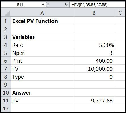 The Excel PV function is used to calculate the present value of a lump sum, an annuity or an annuity due . Its syntax is PV (Rate, Nper, Pmt, FV, Type).