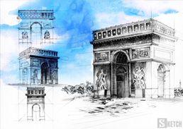 Arch de Triumph Paris. Architectural drawing - geometrics. Rysunek geometryczny łuk triumfalny w Paryżu. www.kurs-rysunku.com.pl
