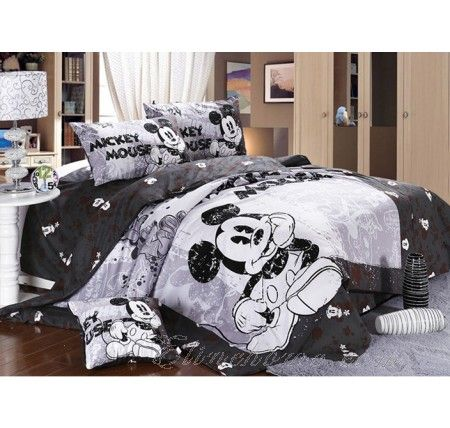 Mickey and Minnie Mouse King Queen Adults Cartoon Bedding Set 4 Pcs Cotton  Bed Sheet Grey Linens Doona Duvet Cover and 2 Pillowcase. 23 best Mickey Mouse And Minnie Mouse Bedding images on Pinterest