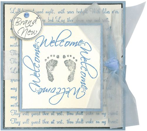 Stamp-it Australia: 4505E Welcome Frame, 4504C Little Feet, 4506F Lullaby Script, 4502C Brand New - Card by Susan