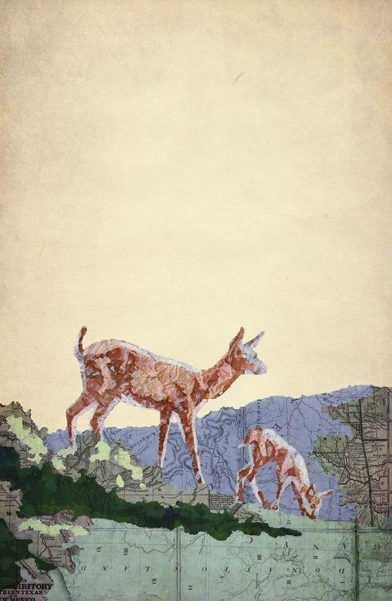 Doe and Fawn by jason laferrera  I love how he uses maps to paint on. I want to use old atlas paper I have to paint on.
