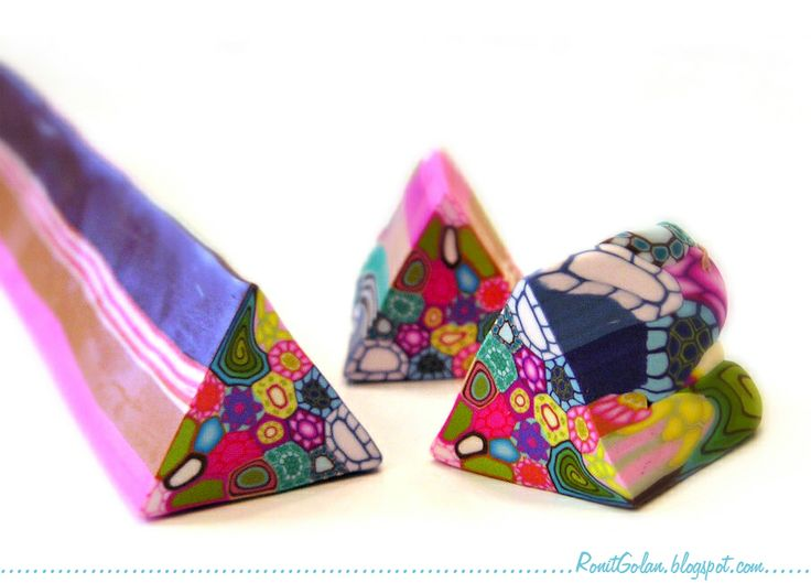DIY Tutorial - Kaleidoscope cane from leftover polymer clay canes by Ronit Golan.