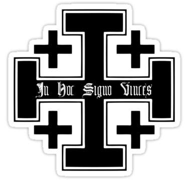 In Hoc Signo Vince's Cross | Jerusalem cross (Black)