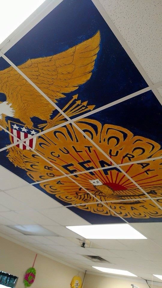 "Great officer activity. Have them take the tiles down, draw out the emblem lines, and paint in the colors. Ira ""Heinz"" Tucker Irwin Co. FFA -- www.OneLessThing.net"
